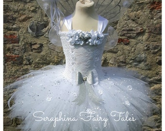 White Fairy Dress. Birthday, Gala Party Dress with Silver Glitter & Lace Detailing. Handmade By Seraphina Fairy Tales. Optional Wings.
