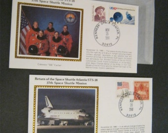 Space SHUTTLE ATLANTIS STS-38 Commemorative Special Event Cover * Famous Colorano Silk Cachet * Vintage stamps * Kennedy Space Center cancel