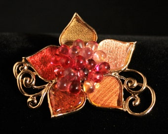 Ships Free! Vintage Liz Claiborne Flower Pin With Pinks & Browns Enamel - 0216DO26