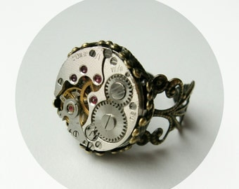 ring steampunk ring cocktail ring watch ring steam punk jewelry unique gift handmade steampunk wedding - Steampunk Wedding Rings