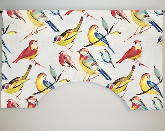 Richloom Birdwatcher Summer Custom Valance Curtain, Colorful Bird Toile, Lined
