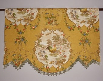 P Kaufmann Country Fair Curry Rooster Valance for French Door