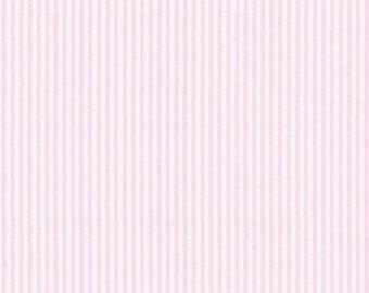 Pink Seersucker Fabric, Robert Kaufman Fabric, half yard light pink and white seersucker, cotton blend seersucker