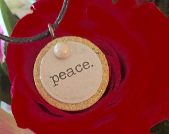 "Xapix ""Peace"" Wine Cork Necklace"