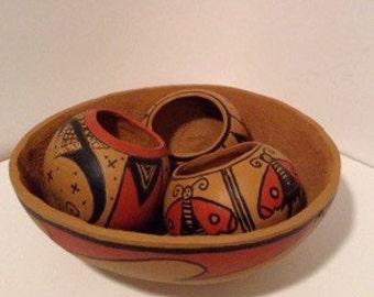 Southwest Pueblo Designs Nested Gourd Bowls and Vases