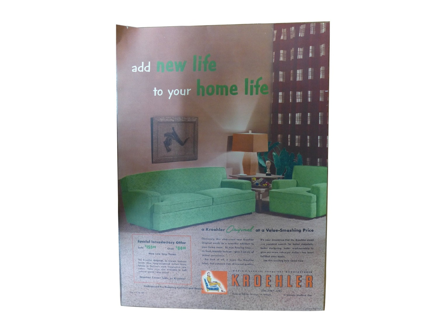 Original 1950s Kroehler Furniture Advertisement Lithograph