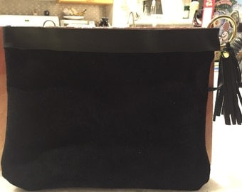 Black Suede and Leather clutch