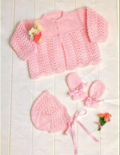 Knitting pattern baby matinee jacket bonnet mittens premature