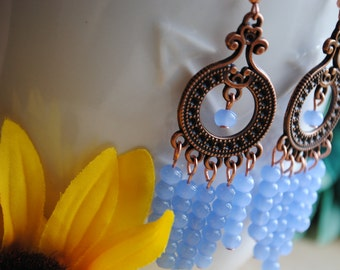 Blue, Copper, Boho/Vintage Dangle Earrings