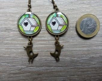 Cabin bird earrings