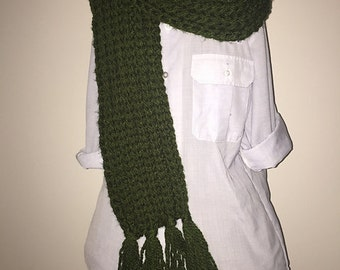 Sweetheart Scarf / Oversized Crochet Scarf / Chunky Crochet Scarf / Green Scarf