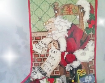Vintage Candamar Needlepoint Kit - SANTA and TOYS - Christmas Stocking - 30641