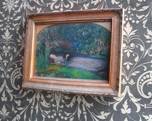 Paper miniature - MINIATURE OPHELIA CANVAS art - Frame like the original from Tate Gallery - Scale 1:12