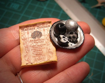 Miniature - POISON APPLES , Death face , SCROLL with magical spell and silver Plate - Magician , Witches , Wizards - Scale 1:12