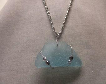 Blue Beach Glass Necklace