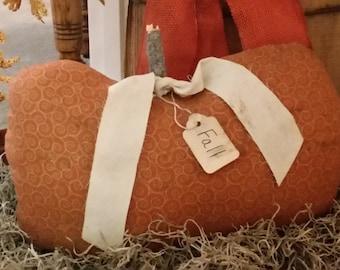 primitive fall pumpkin pillow cupboard tuck, orange cream pumpkin, OFG, FAAP, autumn decor, fall decor, Thanksgiving pumpkin,