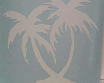 Palm Trees Vinyl Decal Sticker/Palm Trees/Beach/Tropical/Yeti Decal/Car Decal/Laptop Decal