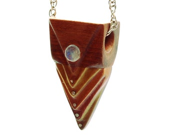 Wood pendant (4 different patagonian wood) with moonstone and silver inlays