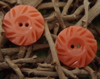 Vintage Buttons - French Casein Art Deco buttons - Tangerine (Peach), Carved, Very Pretty - approx 22mm (7/8 inch) diameter