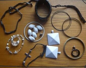 black and white jewellery destash, salvage jewelry craft supplies
