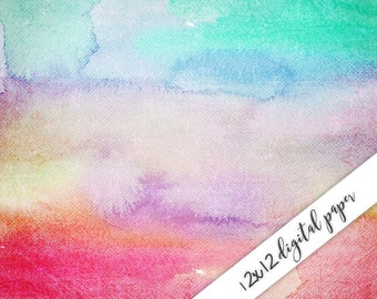 Digital Paper Watercolor, 12x12, Watercolor Digital Background, Pastel
