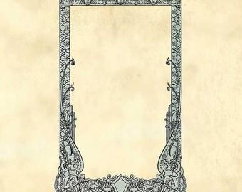 Nordic Ornamental frame 'norræna viking edition' with kings and creatures - Printable Digital Download Antique Vintage Clip Art Frame