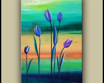 """SALE, Original Abstract Painting, Acrylic flower Painting, 24""""x36"""" Ready to Hang"""