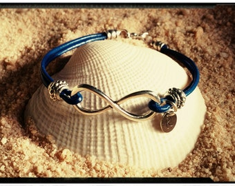 Infinity Bracelet - Leather with Silver Accents - Choose Your Color - Blue/Slate/Black/Sienna - Add Initial - Stacking Bracelets//Infinity