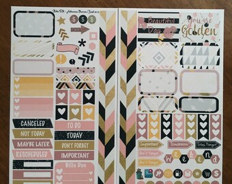 Posh Chic Medium Personal MM Stickers Louis Vuitton Mambi Inkwell Press Filofax Kikki K Happy Life Planner LV blush gold black glitter