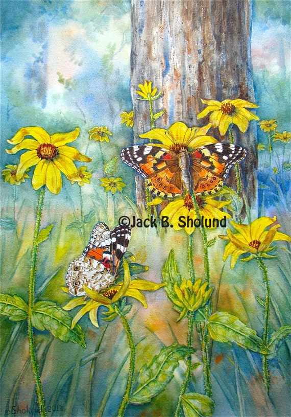 Painted lady butterfly pair on brown eyed susan flowers nature - Brown butterfly meaning money ...