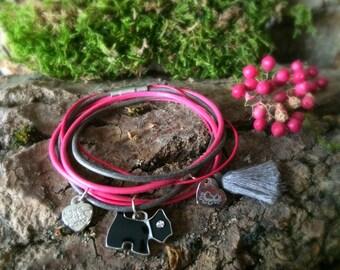 Bracelet leather dog pink heart