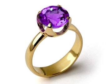 CUP Amethyst Engagement Ring, Purple Amethyst Ring, Yellow Gold Amethyst Ring, Amethyst Promise Ring, Large Amethyst Ring