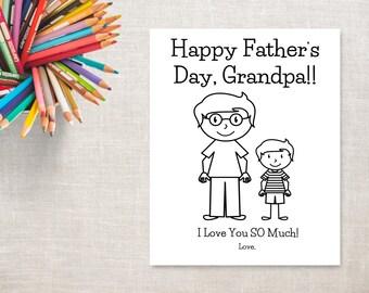 Father's Day Coloring Printable- Boy & Grandpa- Father's Day Card to Grandpa