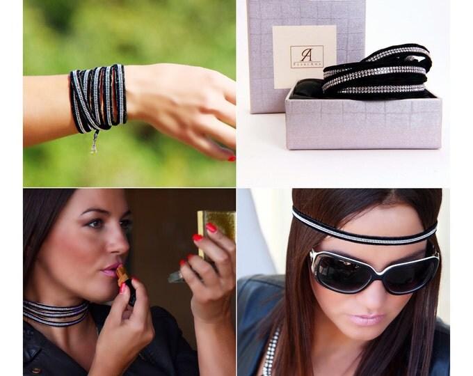 Featured listing image: BLACK wrap versatile bracelet with swarovski crystals