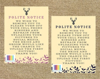 Polite Notice, No photos on Social Media, No pictures please, Printable Wedding Sign, Rustic Wedding, 8.5 x 1 1 (Digital File)
