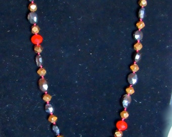 After Midnight knotted necklace with facetted Sardonyx