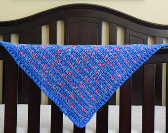 Multicolor & Blue Baby Afghan Lap Blanket for the Nursery, Baby Shower, Newborn Photo Prop