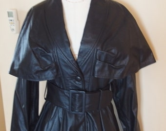 1980s Black Leather Trench Full Skirt, Cape Top Jacket