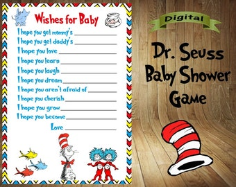 Dr. Seuss Baby Shower Game, Dr. Seuss Shower Games, Dr. Seuss Game, Dr. Seuss Baby Shower Favor, Dr. Seuss Wishes for Baby