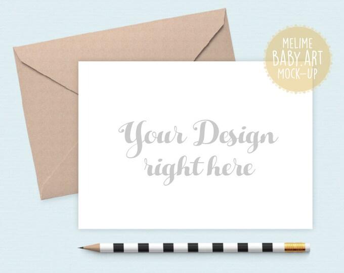 5x7 Invitation Mockup, Cards Mockup, Styled Photography Mockup, Card and Kraft Envelope Mockup (5x7.Card2Pencil)