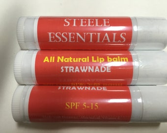 All Natural Tinted Strawberry Lemonade Lip Balm with SPF (3 Pack)