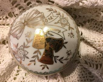 Vintage Norcrest Porcelain 50th Anniversary Covered Trinket Box