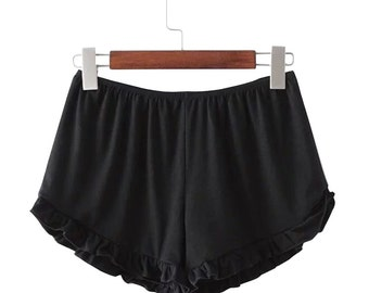 Black Ruffle Handmade Shorts // Beach // Womens Clothing