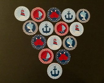 Blue and Red Sailors Buttons Set of 15