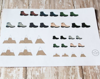 Outdoors Hiking Boots Planner Agenda Stickers