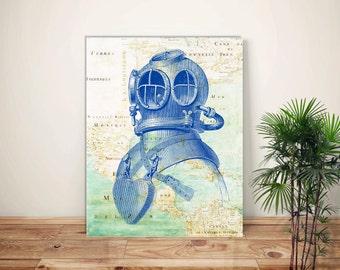 Nautical Art, Scuba Diver Helmet print, Diving Art, Deep Sea Diver, old Dive Helmet illustration, Map Art, Scuba Diving Poster