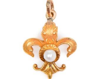 14 kt. Yellow Gold and Pearl Fleur De Lys Pendant