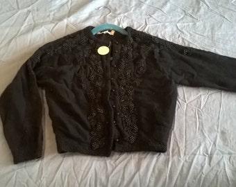 Vintage Hand Beaded Button Cardigan Lambswool & Angora