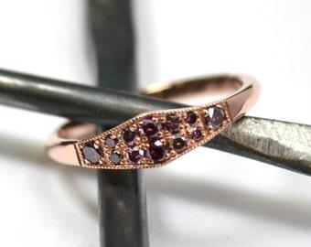 Purple Diamonds 14k Rose Gold Ring, Stacking Ring, Engagement Ring