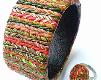 Polymer clay jewelry,Handmade   jewelry, Polymer clay bracelet,Jewelry set